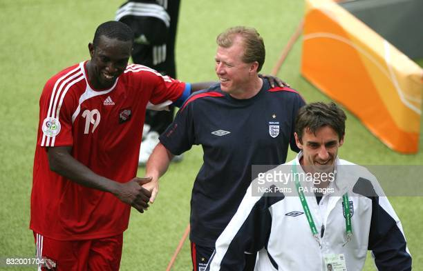 Trinidad and Tobago's Dwight Yorke shakes hands with England assistant manager Steve McClaren