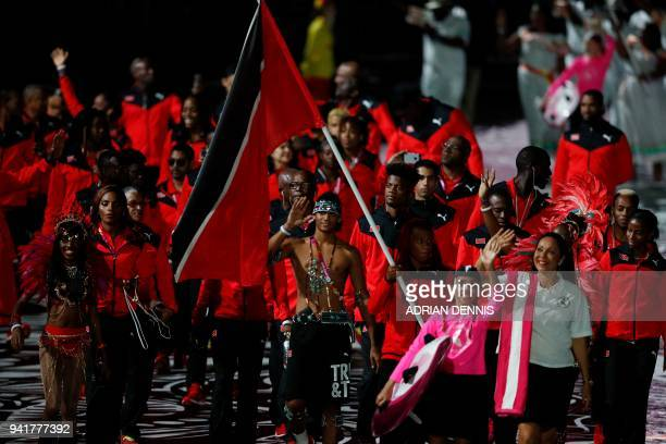 Trinidad and Tobago's flagbearer Michelle Lee Ahye leads the delegation during the opening ceremony of the 2018 Gold Coast Commonwealth Games at the...