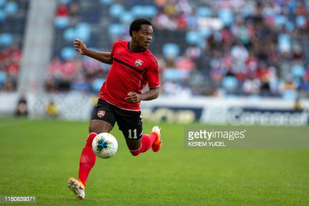 Trinidad and Tobago's forward Levi Garcia dribbles during the first half of the 2019 CONCACAF Gold Cup Group D match between Panama and Trinidad and...