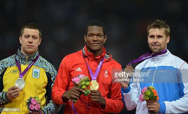 Trinidad and Tobago's gold medalist Keshorn Walcott , Ukraine's silver medalist Oleksandr Pyatnytsa and Finland's bronze medalist Antti Ruuskanen,...