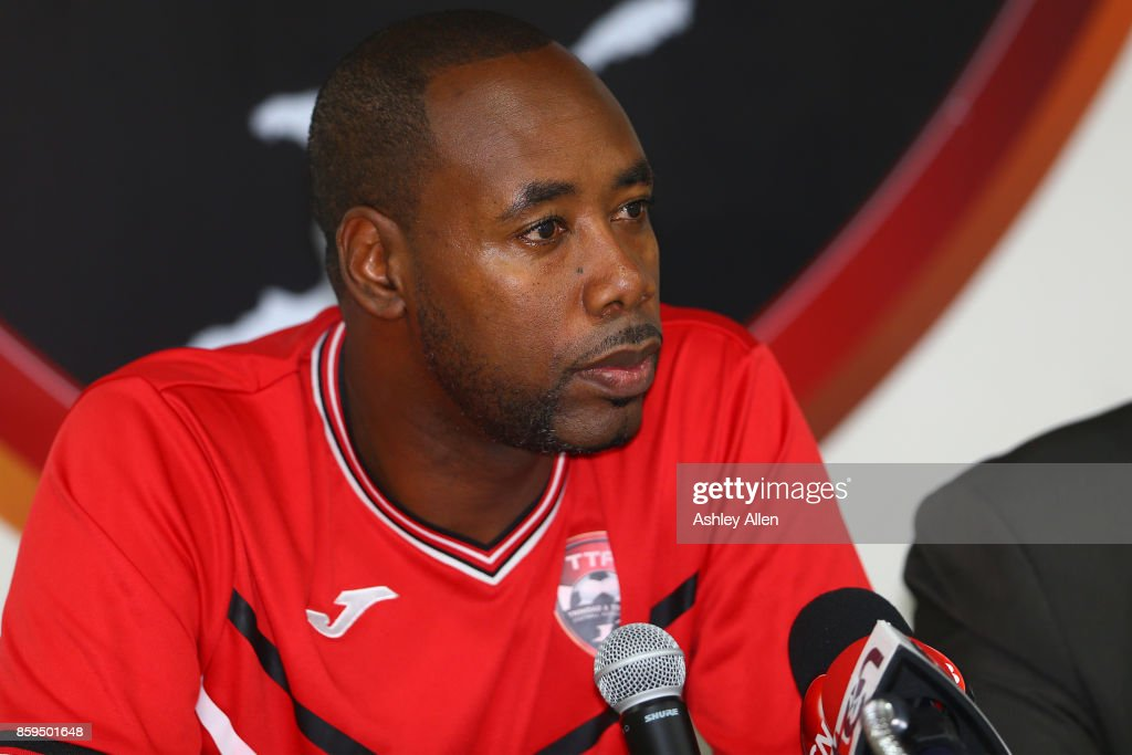 Trinidad and Tobago's head coach Dennis Lawrence answers questions during a pre-match press conference at the Ato Boldon Stadium on October 9, 2017 in Couva, Trinidad And Tobago.