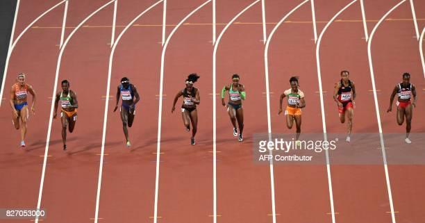 Trinidad and Tobago's Kelly-Ann Baptiste, Trinidad and Tobago's Michelle-Lee Ahye, Ivory Coast's Marie-Josee Ta Lou, Brazil's Rosangela Santos,...