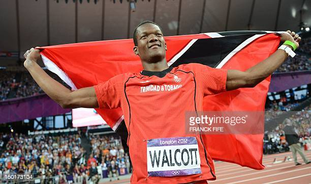 Trinidad and Tobago's Keshorn Walcott celebrates after winning gold in the men's javelin throw final at the athletics event of the London 2012...