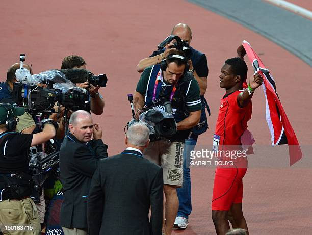 Trinidad and Tobago's Keshorn Walcott celebrates after winning the men's javelin throw final at the athletics event of the London 2012 Olympic Games...