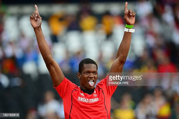 Trinidad and Tobago's Keshorn Walcott celebrates winning the gold medal in the men's javelin throw final at the athletics event of the London 2012...