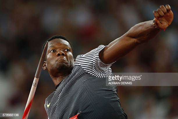 Trinidad and Tobago's Keshorn Walcott competes in the men's Javelin at the IAAF Diamond League Anniversary Games athletics meeting at the Queen...