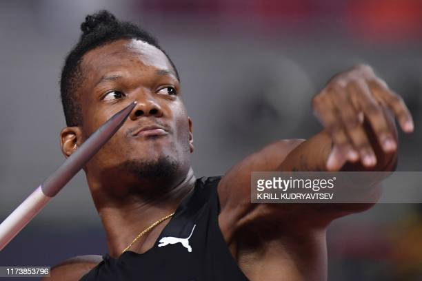 Trinidad and Tobago's Keshorn Walcott competes in the Men's Javelin Throw heats at the 2019 IAAF Athletics World Championships at the Khalifa...