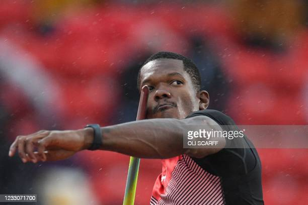 Trinidad and Tobago's Keshorn Walcott competes in the men's javelin final during the Diamond League athletics meeting at Gateshead International...