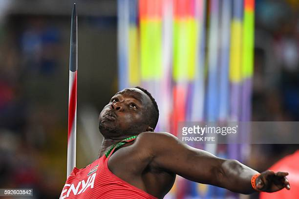 Trinidad and Tobago's Keshorn Walcott competes in the Men's Javelin Throw Final during the athletics event at the Rio 2016 Olympic Games at the...