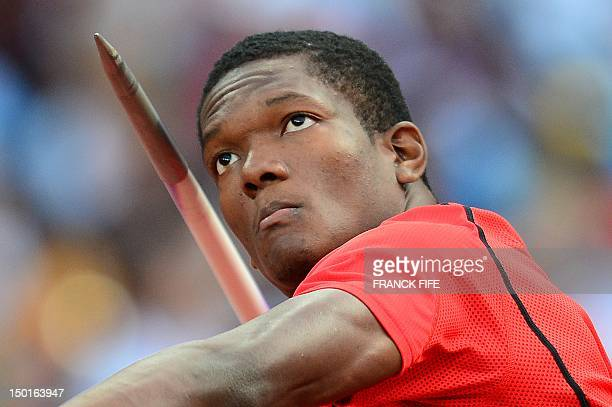 Trinidad and Tobago's Keshorn Walcott competes to win the gold medal in the men's javelin throw final at the athletics event of the London 2012...