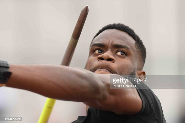 Trinidad and Tobago's Keshorn Walcott competes to win the silver medal in the Athletics Men's Javelin Throw Final during the Lima 2019 Pan-American...