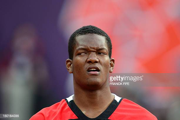 Trinidad and Tobago's Keshorn Walcott reacts while competing in the men's javelin throw final at the athletics event of the London 2012 Olympic Games...