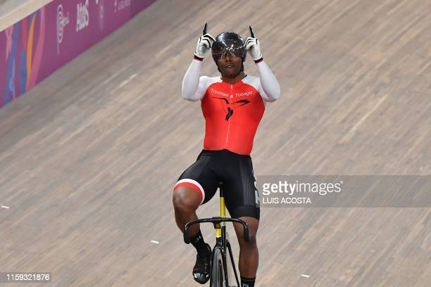 Trinidad and Tobago's Nicholas Paul celebrates winning the Men's Sprint Gold Final of the Track Cycling competition during the Lima 2019 Pan-American...