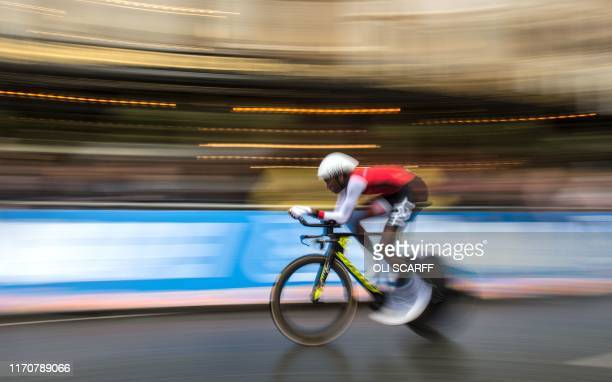 TOPSHOT Trinidad and Tobago's Teniel Campbell competes in the Women's Elite Individual Time Trial at the 2019 UCI Road World Championships between...