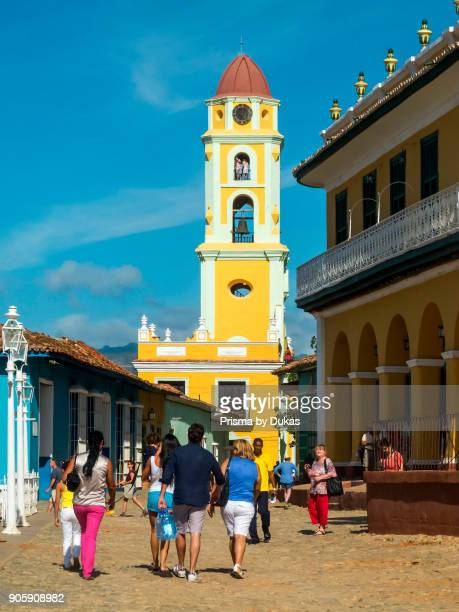 Trinidad Cuba Plaza Mayor with the former Convento San Francisco de Asis now Museo Nacional de la Lucha contra Bandidos Museo Romantico