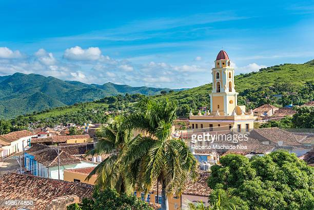 Trinidad de Cuba a travelling landmark in the Caribbean Aerial view of Trinidad skyline including the Convent of Saint Assisi which is currently used...