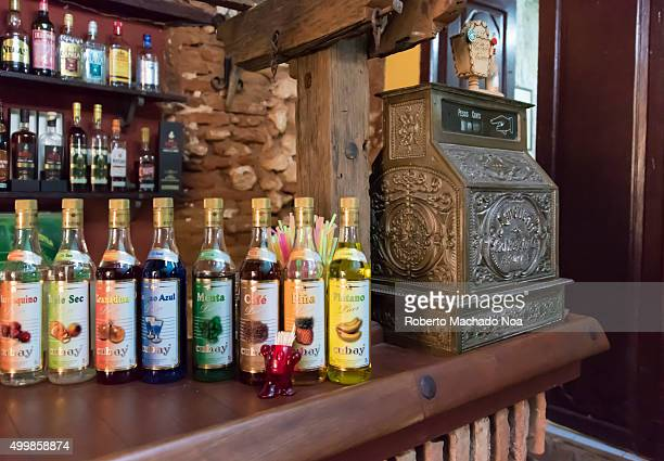 Trinidad de Cuba tourism Varieties of Cuban rum and wine bottles on display at a colonial style bar in Trinidad Trinidad is a UNESCO World Heritage...