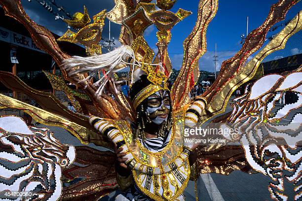 Trinidad Port Of Spain Carnival Parade Of Bands Closeup Of Dancer In Costume