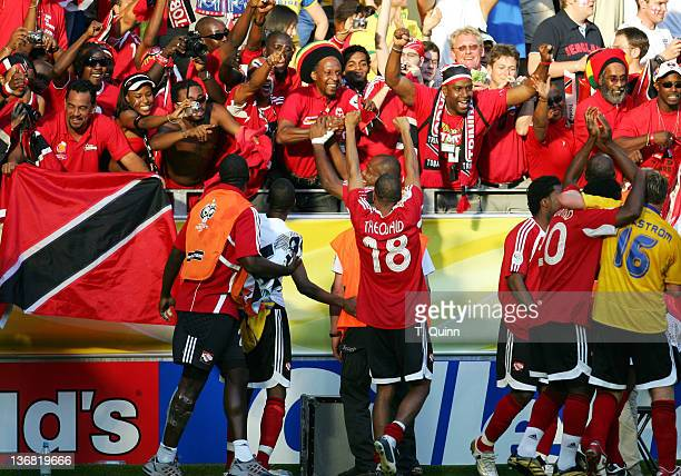 Trinidad Tobago players greet a happy group of fans after the Group B match against Sweden in Dortmund Germany on June 10 2006 Trinidad stunned...