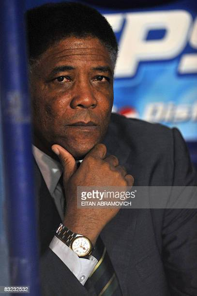 Trinidad Tobago's coach Colombian Francisco Maturana watches his players during their FIFA World Cup South Africa2010 qualifying football match...