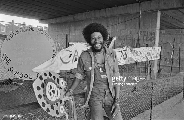 Trinidadian community activist Leslie 'Teacher' Palmer, director of the Notting Hill Carnival in London, pictured under the Westway, UK, 25th August...
