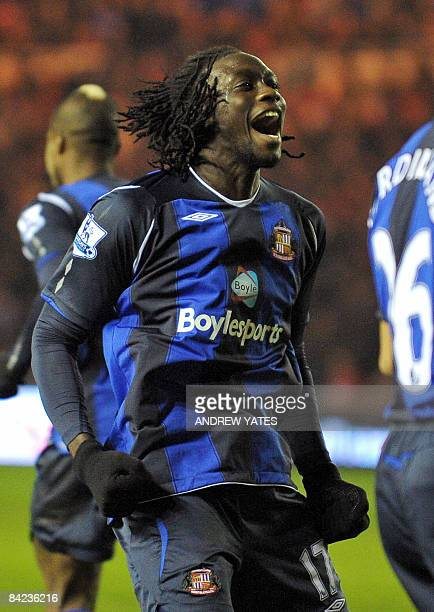 Trinidnad and Tobago's forward Kenwyne Jones of Sunderland celebrates after scoring against Middlesborough during the English Premier league football...