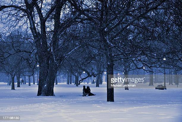 CONTENT] Trinity Bellwoods Park Toronto during the February storm Despite the cold and the wind some still found it a place for quiet conversation