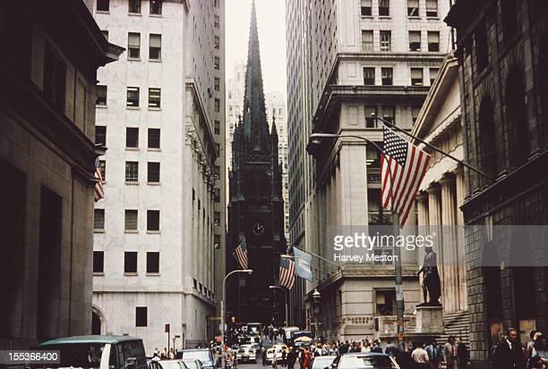 Trinity Church and the Federal Hall on Wall Street New York City circa 1960