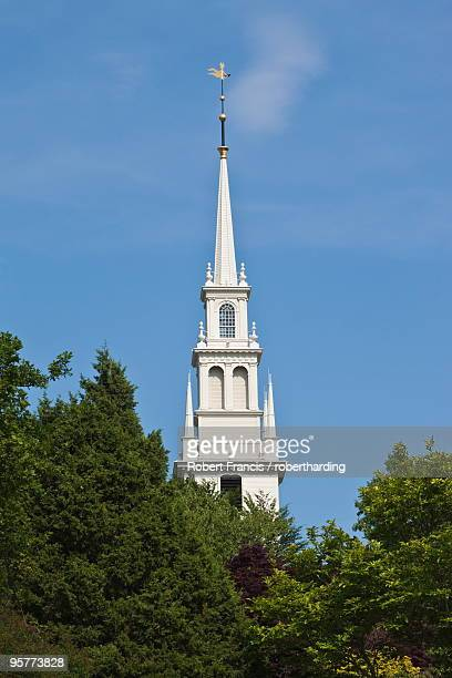 Trinity Church dating from 1726 on Queen Anne Square, the oldest Episcopal parish in the state, designed by local builder Richard Munday who was inspired by Wren's churches, in historic Newport, Rhode Island, New England, United States of America