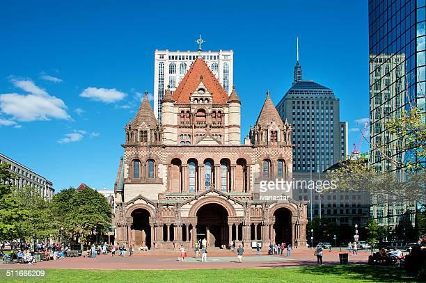 trinity-kirche in boston - copley square stock-fotos und bilder