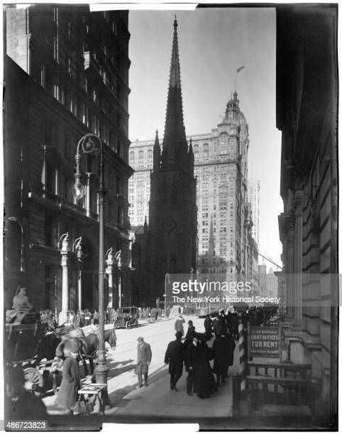 Trinity Church seen from Broadway looking north New York New York 1895