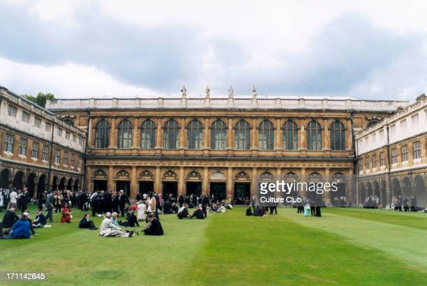 Trinity College Cambridge University graduation picnic in the Great Court with graduate students and their families 2002