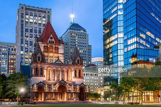 trinity episcopal church, copley square, boston, massachusetts, america - boston stock pictures, royalty-free photos & images