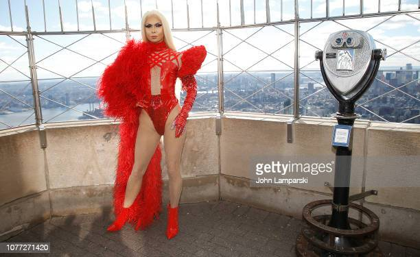 Trinity Taylor from the cast of RuPaul's Drag Race All Stars visits the Empire State Building Hosts Cast Of RuPaul's Drag Race All Stars at The...