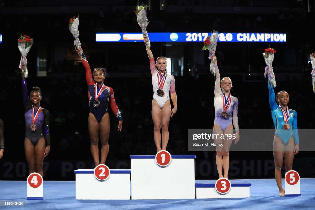 Trinity Thomas fourth place, Jordan Chiles silver, Ragan Smith gold, Riley McCusker bronze, and Margzetta Frazier fifth place in the Women's All-Around Competition during the P&G Gymnastics Championships at Honda Center on August 20, 2017 in Anaheim, California.