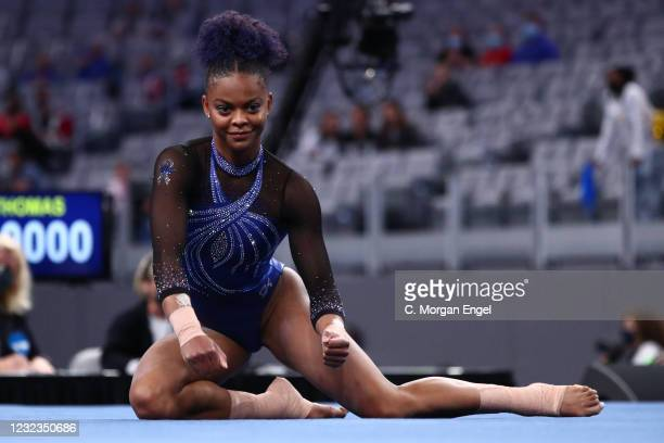 Trinity Thomas of the Florida Gators performs a floor exercise routine during the Division I Women's Gymnastics Championship held at Dickies Arena on...