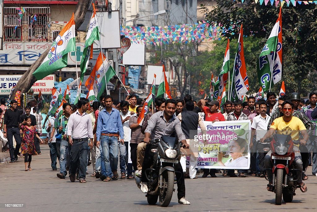 Trinmool Congress workers taking out a rally against the 48 hour nationwide strike called by 11 Central Trade Unions on February 20, 2013 in Kolkata, India. The strike called against UPA's economic and alleged anti-labour policies crippled financial services like banks and insurance companies. Transport sector was partially hit by the strike as many bus, auto-rickshaw and taxi unions also extended their support.