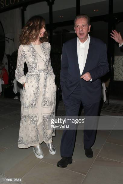 **EXCLUSIVE** Trinny Woodall and Charles Saatchi seen at Scott's restaurant having dinner with friends on August 12 2020 in London England