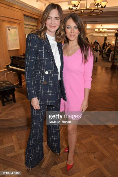 Trinny Woodall and Elizabeth Hurley attend Turn The Tables 2020 hosted by Tania Bryer and James Landale in aid of Cancer Research UK at Fortnum &...
