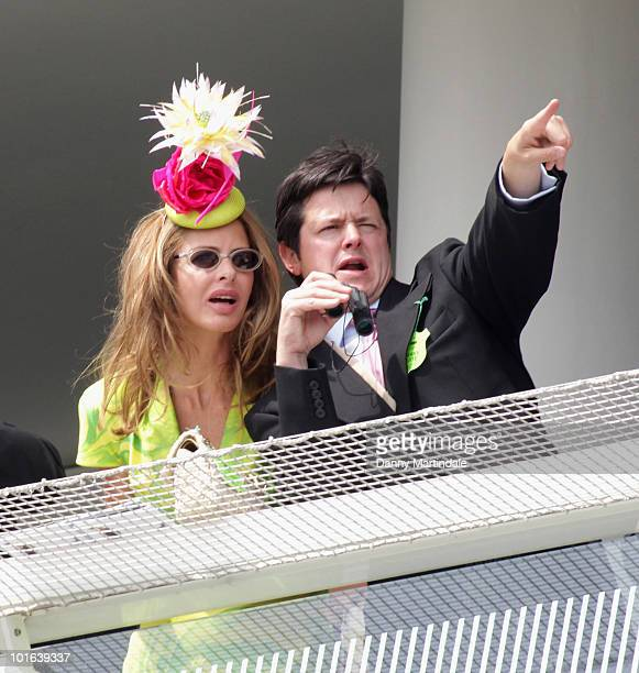 Trinny Woodall and friend attend the Investec Derby Day at Epsom Downs on June 5, 2010 in Epsom, England.