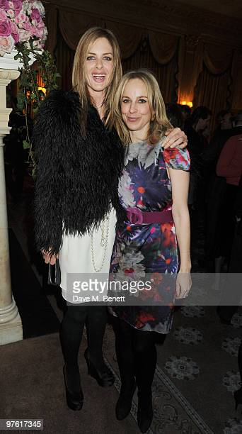 Trinny Woodall and guest attend the Nancy Mitford 'Wigs on the Green' reissue party held by Catherine Ostler and the Dowager Duchess of Devonshire,...