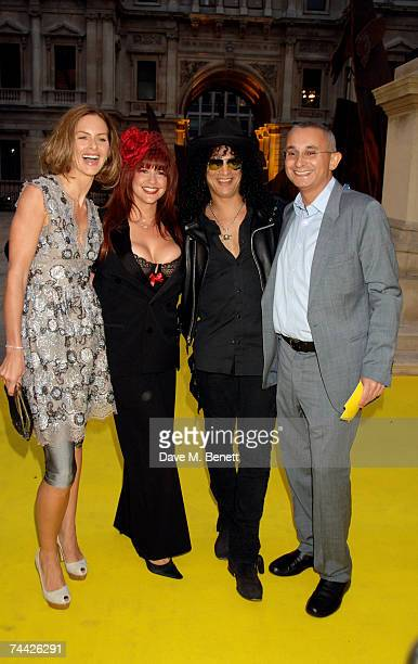 Trinny Woodall and guest Johnny Elichaoff with Slash and his guest arrive at the Royal Academy Summer Exhibition at the Royal Academy of Arts on June...