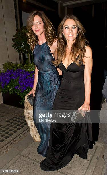 Trinny Woodall and Liz Hurley are seen leaving Claridge's hotel, Mayfair on May 12, 2015 in London, England.