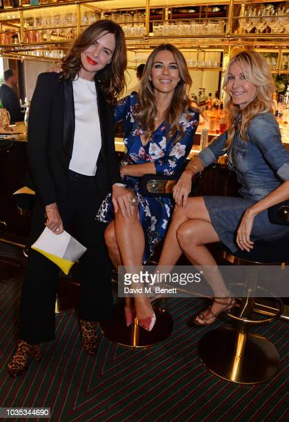 Trinny Woodall, Elizabeth Hurley and Melissa Odabash attend the World's Biggest Coffee Morning hosted by Elizabeth Hurley in support of Macmillan...