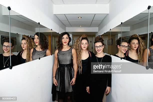 Trio LEJ attend 'Vivement Dimanche' French TV Show at Pavillon Gabriel on December 9 2015 in Paris France