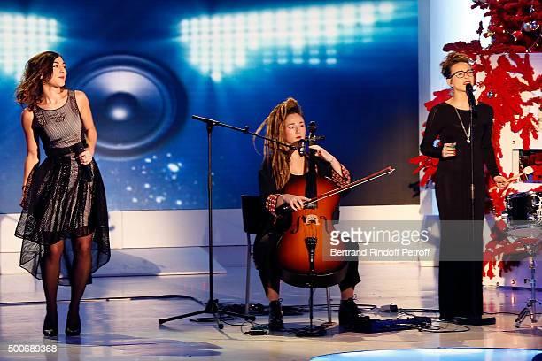 Trio LEJ perform during 'Vivement Dimanche' French TV Show at Pavillon Gabriel on December 9 2015 in Paris France