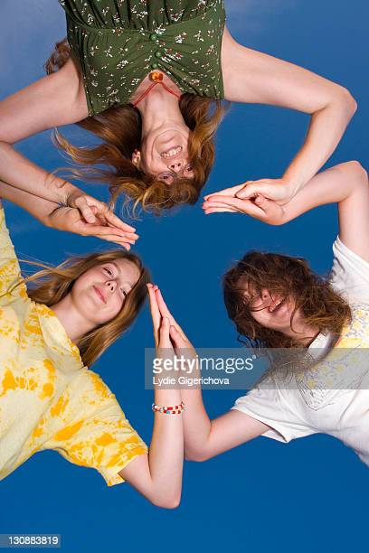 trio, mother, 41 years, with two daughters, 17 and 14 years - 16 17 years stock pictures, royalty-free photos & images