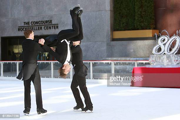 A trio of figure Skaters from Ice Dance International perform 'The Three Smokers' at The Rink at Rockefeller Center on October 11 2016 in New York...