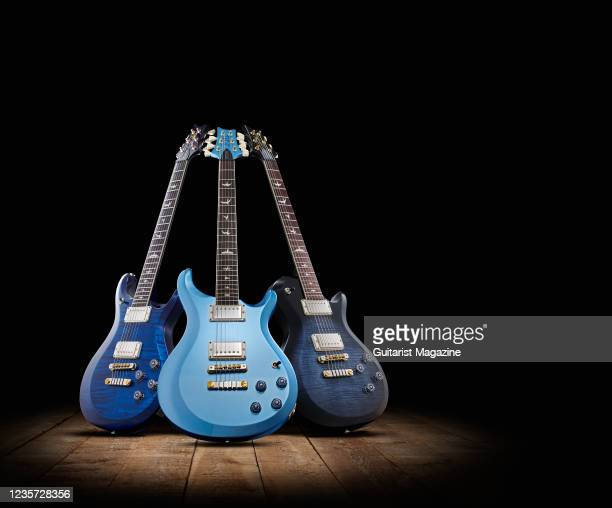 Trio of PRS electric guitars, including a PRS S2 McCarty 594, PRS S2 McCarty 594 Singlecut and a PRS S2 McCarty 594 Thinline, taken on April 2, 2020.