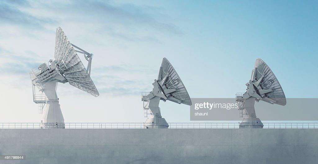 Trio of Satellite Dishes : Stock Photo